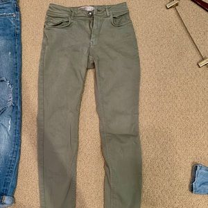 High waisted olive colored jeans